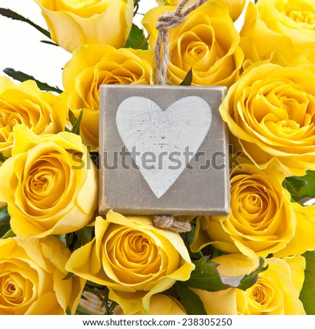 Fresh Bouquet made of bright yellow roses - stock photo