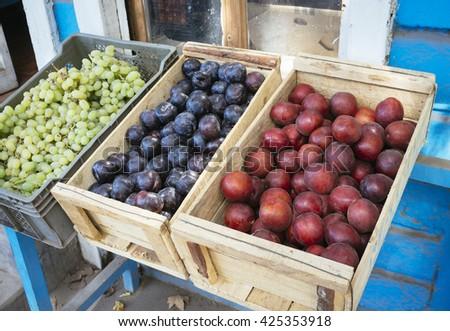 Fresh Box Fruit in street market - stock photo