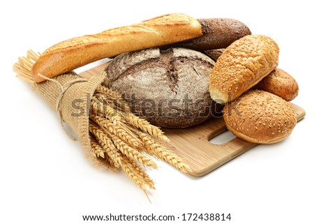 fresh bread and wheat on the white