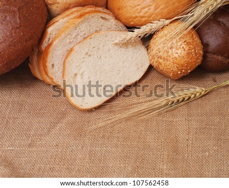 fresh bread and wheat spikelets