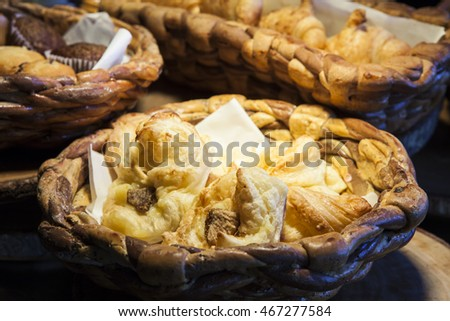 Fresh bread in the basket. Food background.