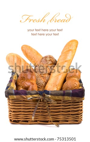 Fresh bread in the basket isolated with space text - stock photo