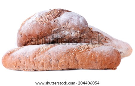 Fresh bread isolated on white
