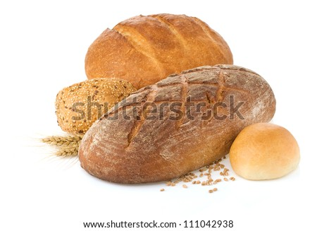 fresh bread isolated on white background - stock photo