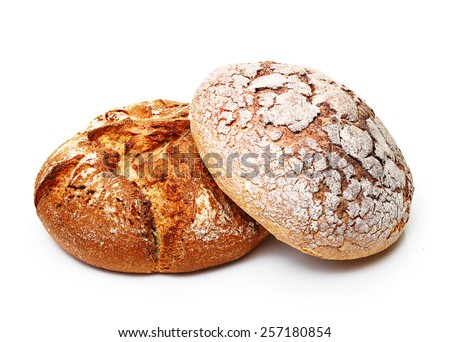 Fresh bread isolated on white background. - stock photo