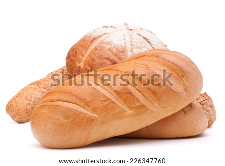fresh bread isolated on white background cutout - stock photo