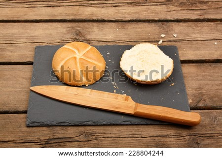 Fresh bread on table - stock photo