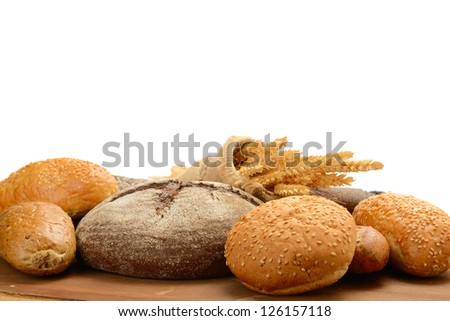 fresh bread  on the white background