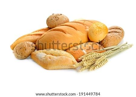 fresh bread on the white background  - stock photo