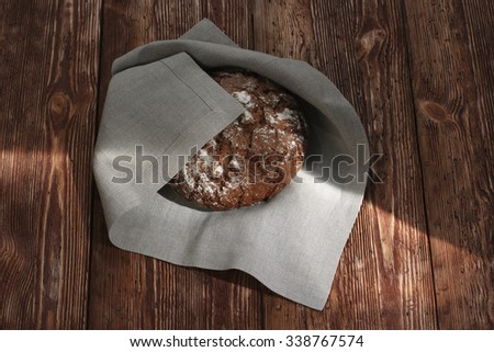 fresh bread on the wooden - stock photo
