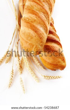 Fresh bread over white background