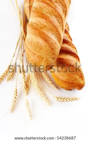 Fresh bread over white background - stock photo