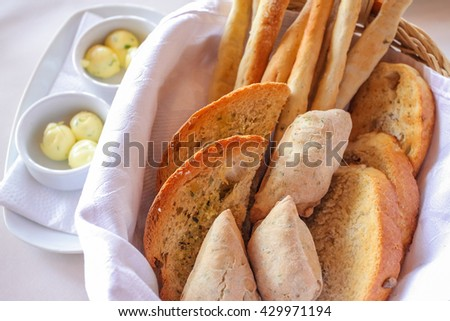 fresh bread serving - stock photo