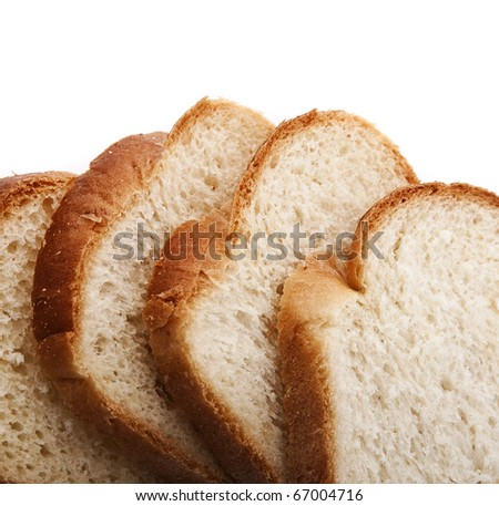 Fresh bread slices, isolated on white background