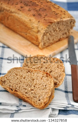 fresh bread with a knife