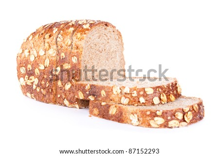 fresh bread with sesame and oats flakes,  isolated on a white background