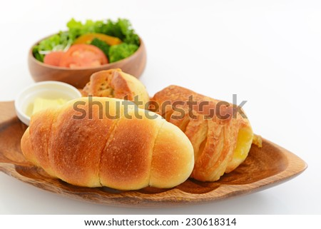 Fresh breads with salad - stock photo