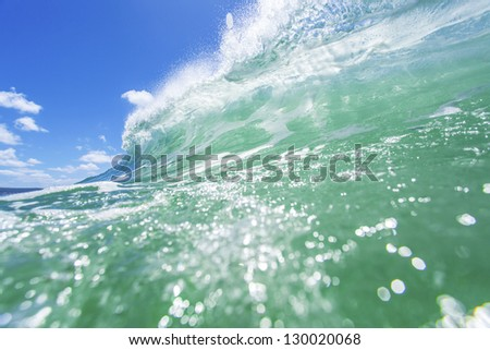 Fresh breaking ocean wave - stock photo