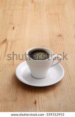 fresh brew coffee on the wooden background