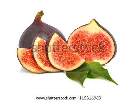 Fresh bright figs isolated on the white background