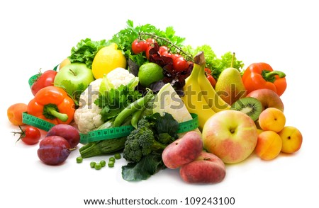 Fresh, bright fruit and vegetables, healthy food - stock photo