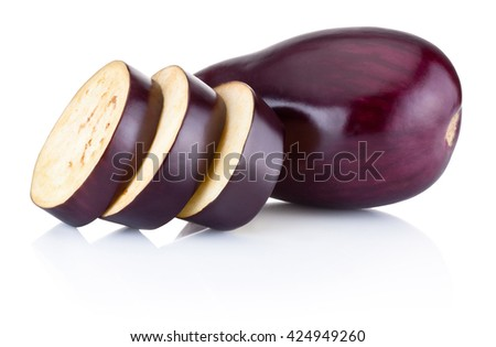 Fresh brinjal and sliced isolated on white background - stock photo