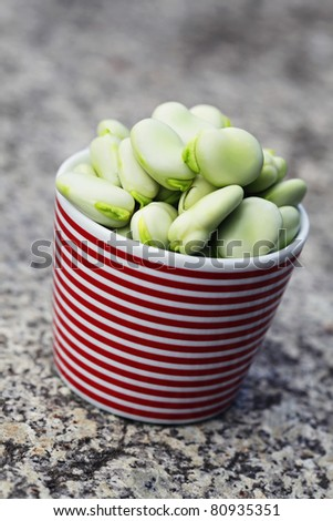 fresh broad beans - fruits and vegetables - stock photo