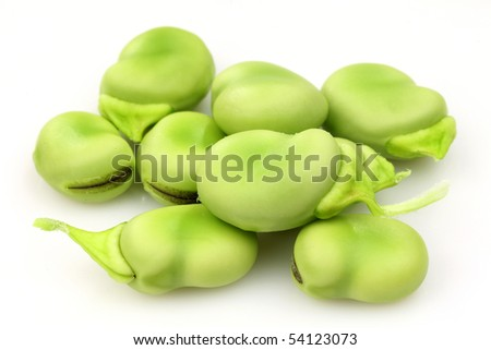 fresh Broad beans on a white background - stock photo