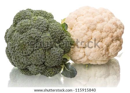 Fresh broccoli and cauliflower isolated on white background. - stock photo