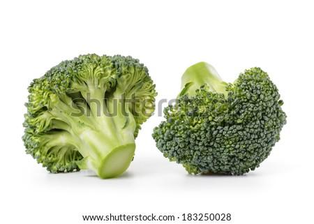 fresh broccoli cabbage, isolated on white background - stock photo