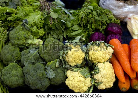 fresh broccoli , cauliflower and carrot - stock photo