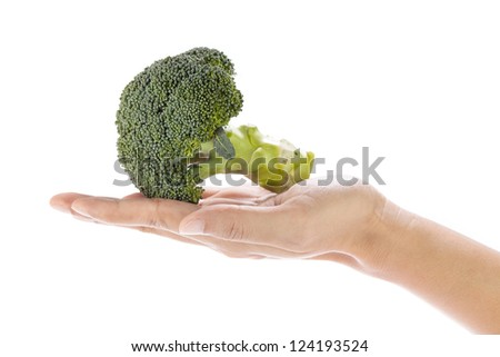 Fresh broccoli in hand isolated on white background