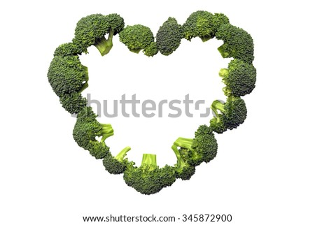 Fresh broccoli in shape of heart/ Heart Healthy/ Love Your Heart Concept - stock photo