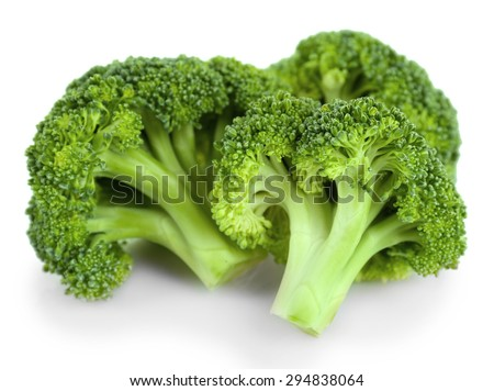 Fresh broccoli isolated on white - stock photo