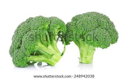 Fresh broccoli on white background - stock photo