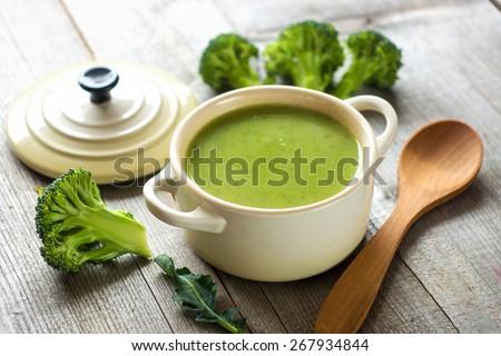 Fresh broccoli soup   - stock photo