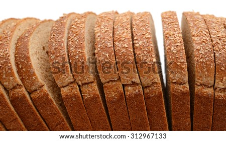 fresh brown bread slices isolated on white
