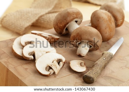 Fresh brown mushrooms - stock photo