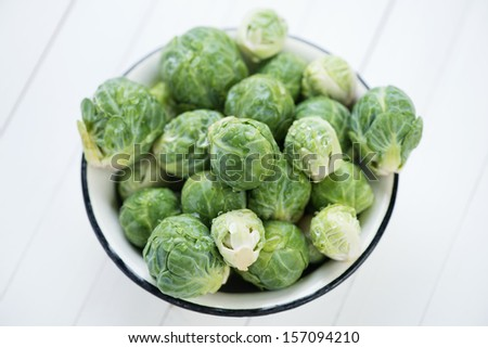 Fresh brussels in a bowl, view from above - stock photo