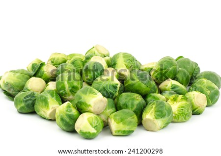 Fresh brussels sprout on white background