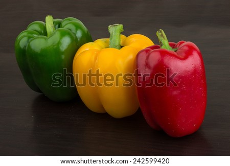 Fresh Bulgarian peppers - green, red and yellow - stock photo