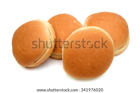 fresh buns on white background