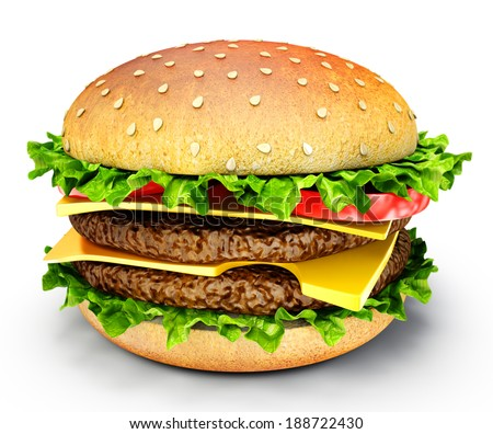 fresh burger isolated on a white background
