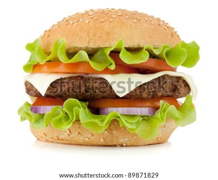 Fresh burger. Isolated on white background - stock photo