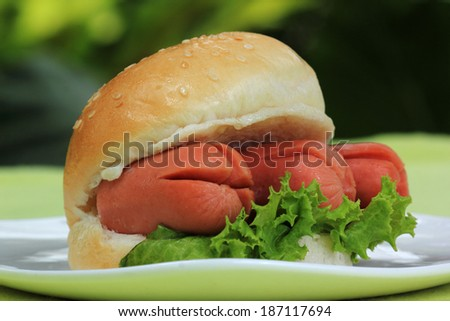 Fresh Burger with sausage on the plate - stock photo