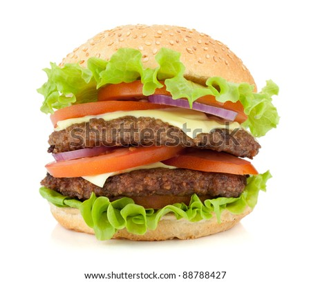 Fresh burger with two beef pieces. Isolated on white background