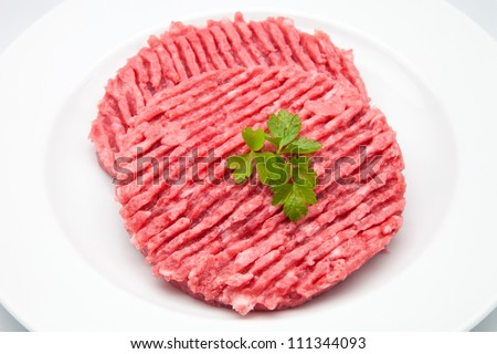 Fresh burgers ready to cook