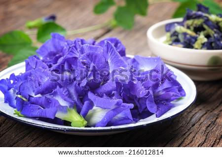 Fresh Butterfly pea flower, Clitoria ternatea on wooden plank in Thailand - stock photo
