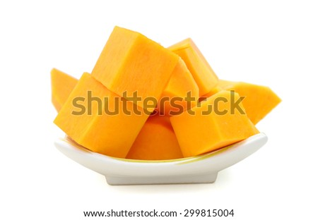 fresh butternut squash slices on plate isolated on white  - stock photo