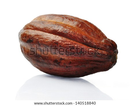 Fresh cacao pods isolated on a white background. Clipping path included - stock photo